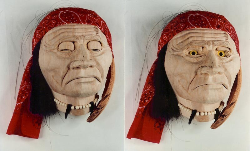 This mask depicts a hunter of eagle feathers- he is obsessed with eagles.